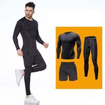 Ocean 3 PCS ชายกีฬาแขนยาวกางเกงขาสั้นกางเกงวิ่งออกกำลังกายบาสเกตบอลการฝึกอบรม Breathable ยืด (สีดำ)-