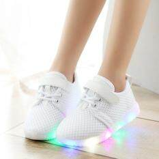 Ocean Children 1-3-6 Years Old Baby Toddler Shoes Soft Bottom Shoes Led Light Breathable Baby Net Shoes(white) By Ocean Shopping Mall.