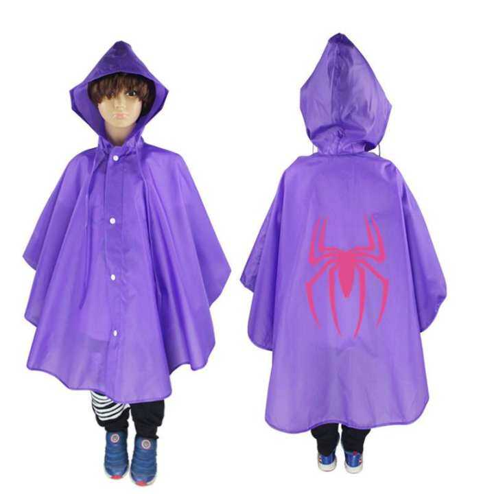 One-Piece baby child waterproof girls kids children's raincoat for children rain gear poncho girl sets rainwear rainsuit pants (Purple)