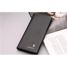 Original Playboy Men Leather Wallet High Quality Long Size Wallet Free Gift Box (Black)