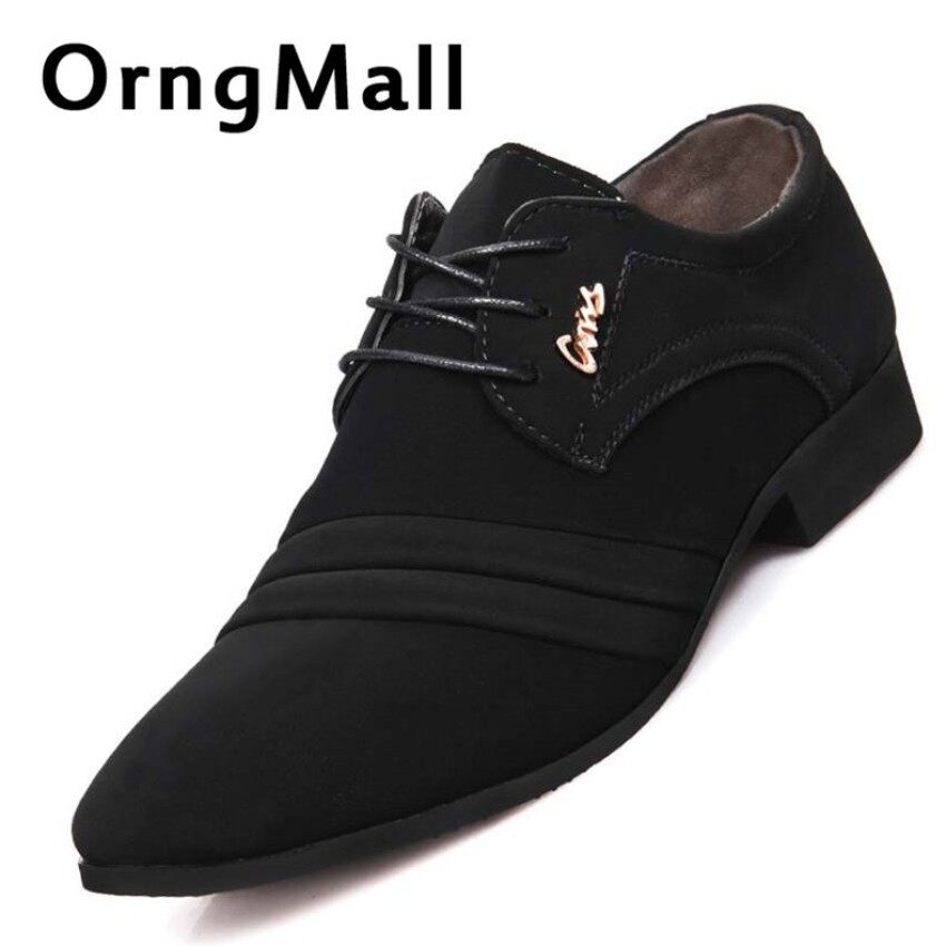 eb80378eac2 OrngMall Mens Pointed Leather Shoe Breathable Formal Shoes Casual Business  Shoes Dress Oxford Party Office Wedding