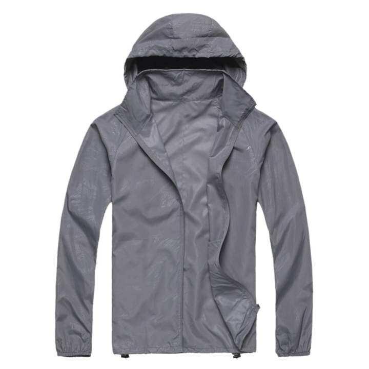 Outdoor Unisex Cycling Running Waterproof Windproof Jacket Rain Coat -Light Grey