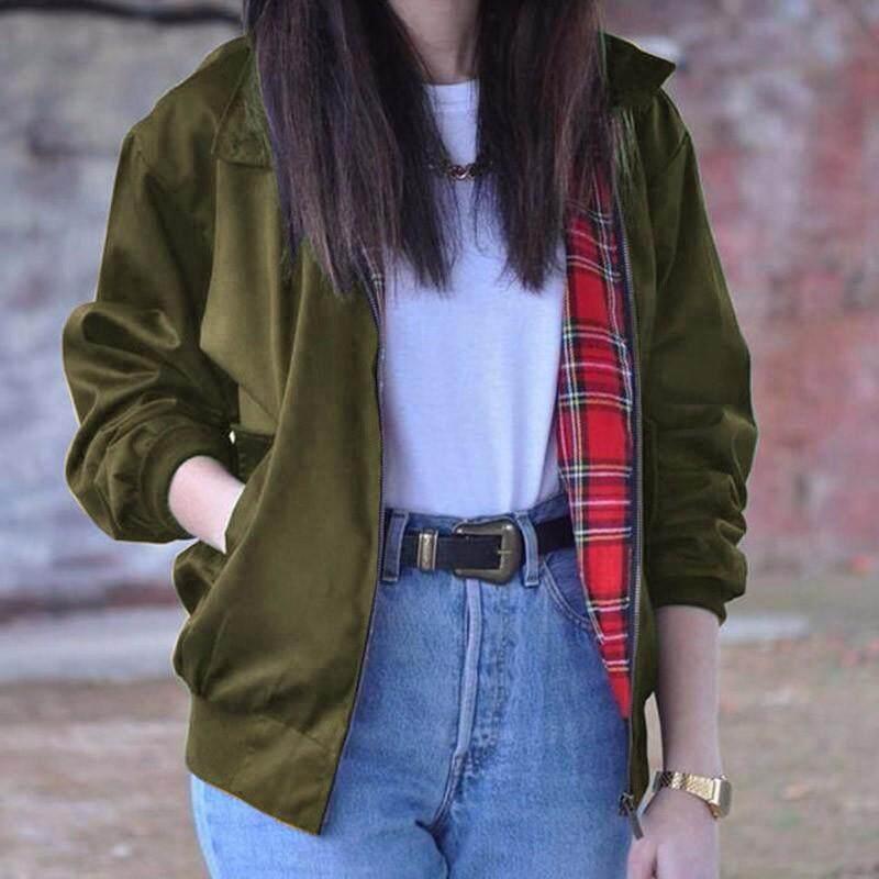 Oversized Women Autumn Outerwear Long Sleeve Fashion Vintage Tartan Zipper Pocke Bomber Jacket Casual Coat Plus Size(Army Green)