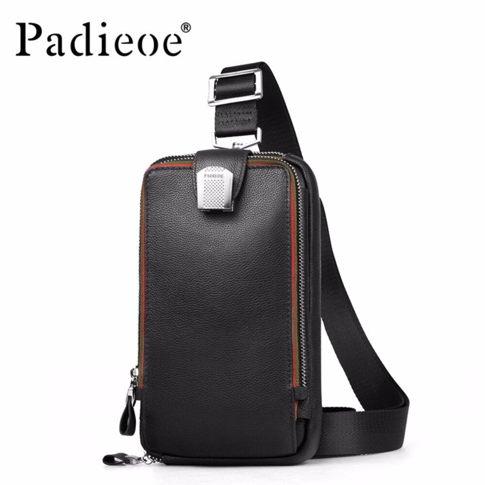 Sale Padieoe 2017 New Design Casual Chest Pack Men Genuine Cow Leather Shoulder Bag Men Crossbody Bags Messenger Bag Male Intl China