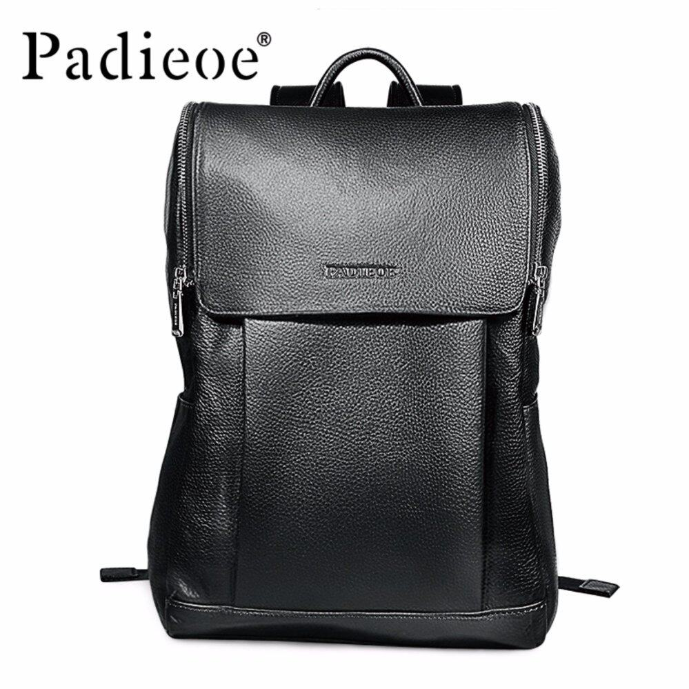 333a747f40c2 Padieoe New Fashion Men Bags Genuine Leather Backpacks Black Casual Travel  Bag Unisex Backpack High-