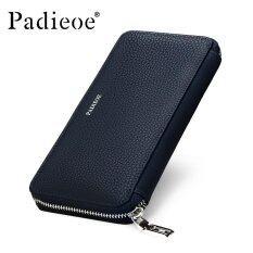 Padieoe Fashion Men Genuine Leather Wallet Business Long Zipper Clutch Purse