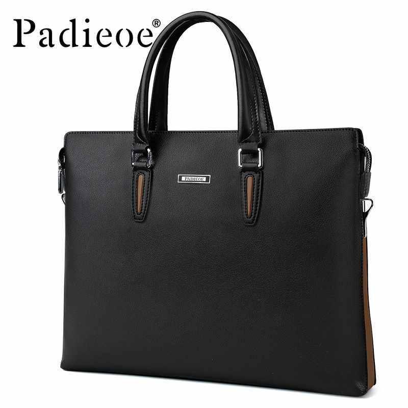 EverPro Padieoe Fashion Mens Bag Business Men Briefcase PU Leather High Capacity Laptop Bag Male Youth Bag Tote Handbags 14.9 inch Black