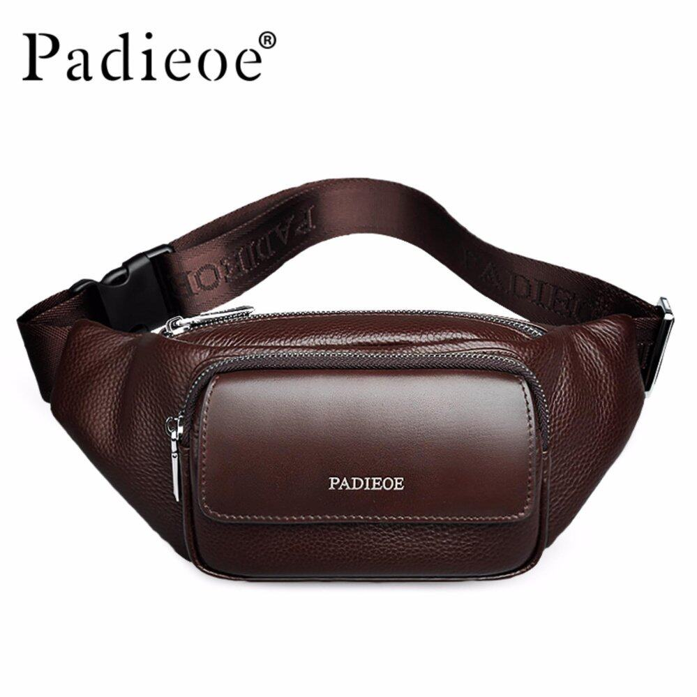PadieoeMen Genuine Leather Waist BagMen's CasualWaist Packs NewFashionWaist Pack High Quality Unisex Waist Belt Bag Brown