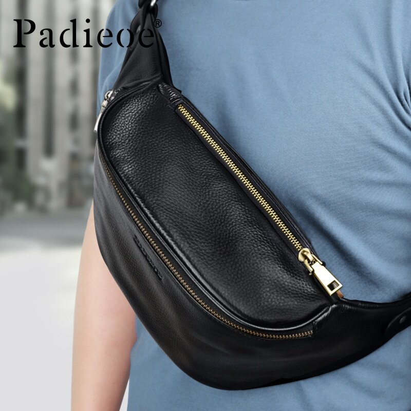 Padieoe Men Fashion Travel Bags Waist Bags Genuine Leather Chest Pack Casual Zipper Men High Capacity