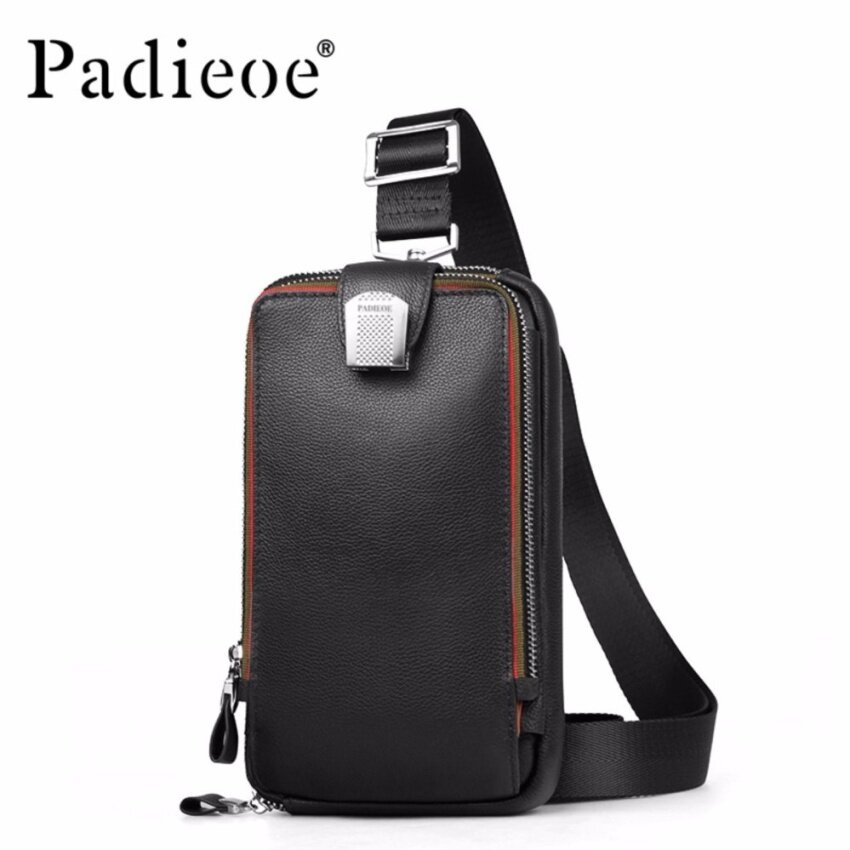 8942f8af72 Padieoe Men Leather Chest Crossbody Bag Casual Men Messenger Bag High  Quality Chest Waist Pack Genuine