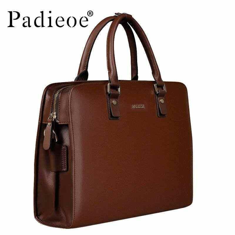 EverPro Padieoe Mens Bag Business Men Briefcase Split Cow Leather High Capacity Laptop Bag Male Youth Bag Tote Handbags 15.1 inch Brown