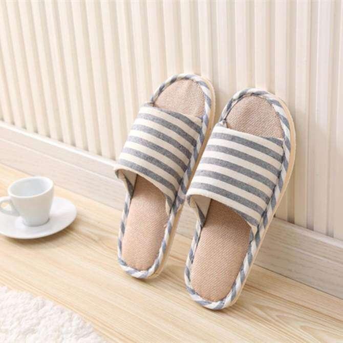 Panda Online Women Men Anti-slip Linen Stripe Home Indoor Slippers Summer Open Toe Shoes Flax - intl