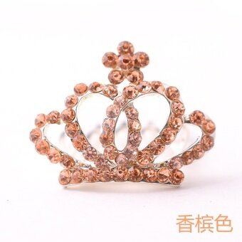 Para grass roots children's jewelry headdress hair accessories hairpin hair hoop girl princess bride accessories rhinestone crown comb small (Champagne color) - intl