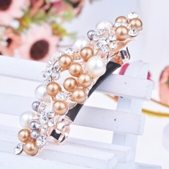 Para grass roots elegant pearl hairpin hairpin cross clip spring clip headdress korean hair accessories diamond buckle horsetail (White champagne) - intl