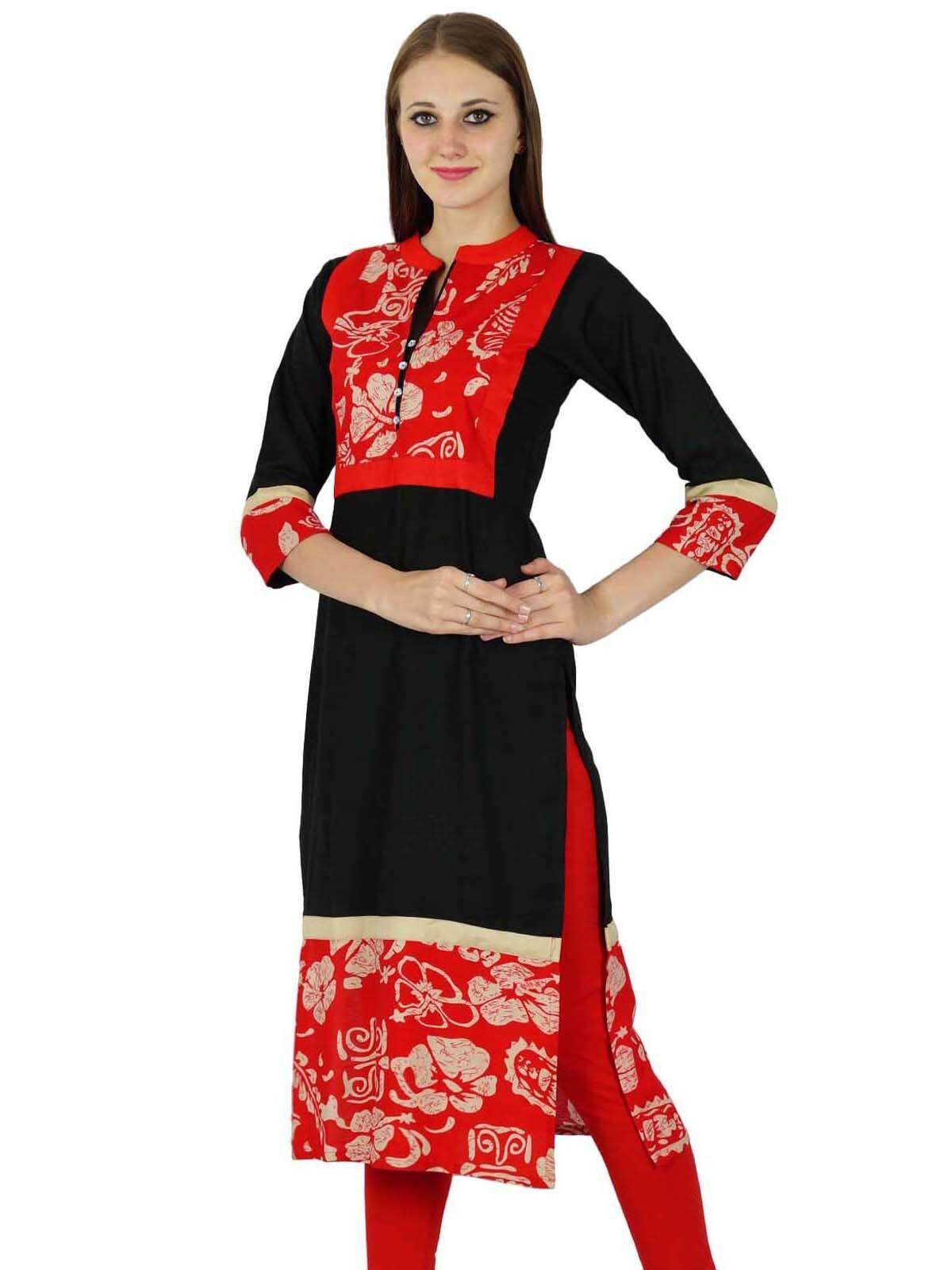 Sale Phagun Rayon Bollywood Kurta Women Ethnic Floral Print Kurti Casual Top Tunic Dress Black Intl India Cheap
