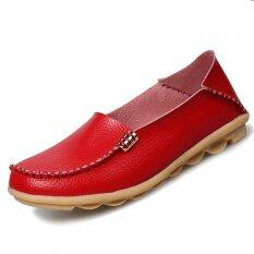 Pinsv 35-44 Wanita Big Sies Sepatu Moccasin Mom Anti-selip Pantofel (Merah)