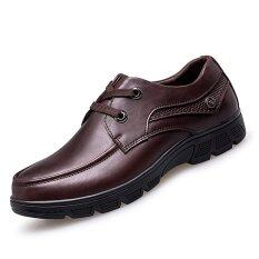PINSV Big Size 37-50 Genuine Leather Business Shoes (Brown)