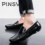 Discount Pinsv Big Size 39 47 Men Genuine Leather Shoes Slip On Black Loafers Mens Moccasins Shoes Pinsv On China
