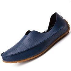 Cheap Pinsv Leather Men S Flats Shoes Breathable Casual Loafers Slip On Navy Online
