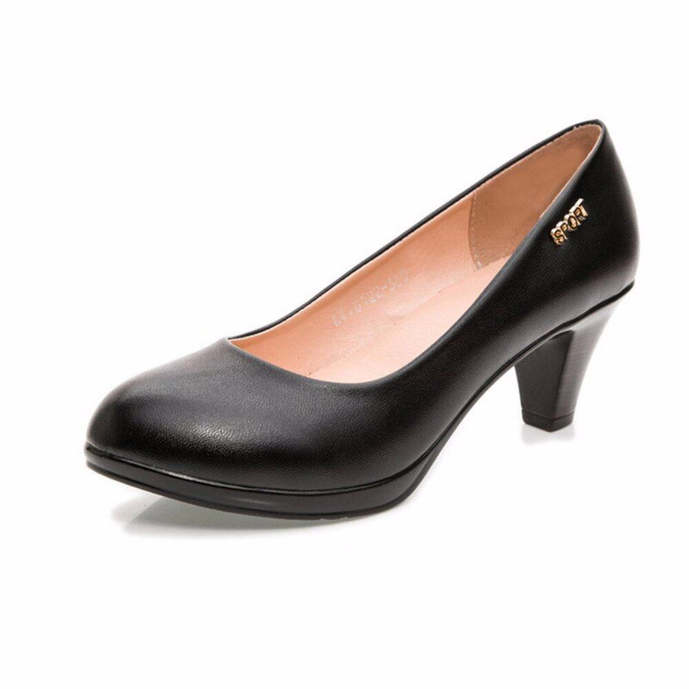 Plus Size (34-43) Fashion High Heel Women Work Shoes Genuine Leather Comfortable