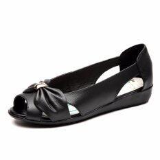 d4e670bc Plus size(35-42) Genuine Leather Sandals Women Summer Open Toe Flat Sandals