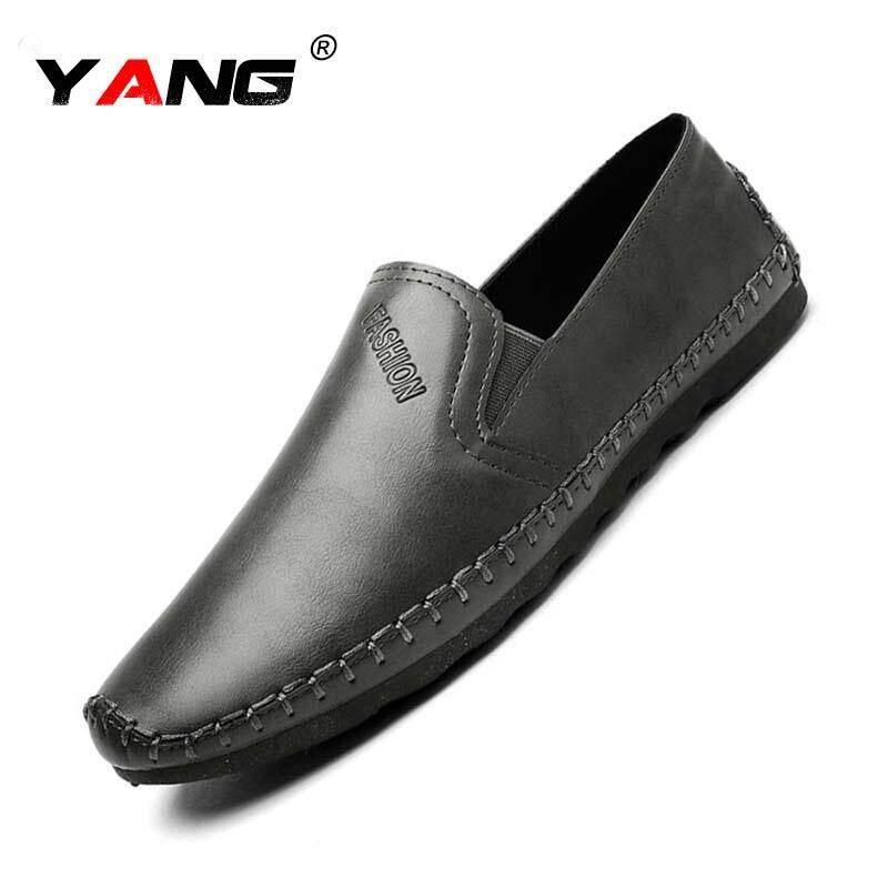 Plus Ukuran 39 ~ 44 Kulit Asli Pantofel Modis Buatan Tangan Sepatu Kulit Sapi Pria Datar