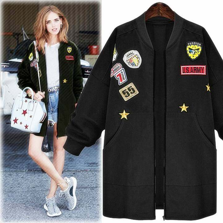 a82bf6d6829 Plus Size Fashion Bomber Jacket Women Patched Badges Long .