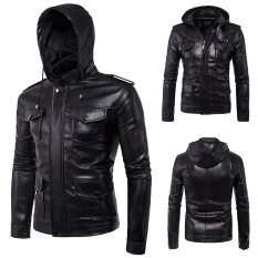 Plus Size Fashion New Men's Hooded Jacket Black Hooded Slim Motorcycle Biker Faux Leather Jackets – intl
