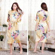 Plus Size kimono Peacock Sleepwear Kimono Satin Silk Long Robe Geisha Dress (Yellow )