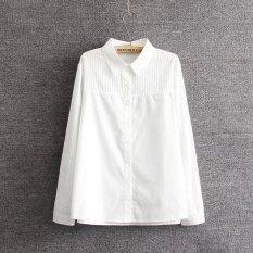 Plus Size Women Long sleeve Casual Cotton Pure White Shirts