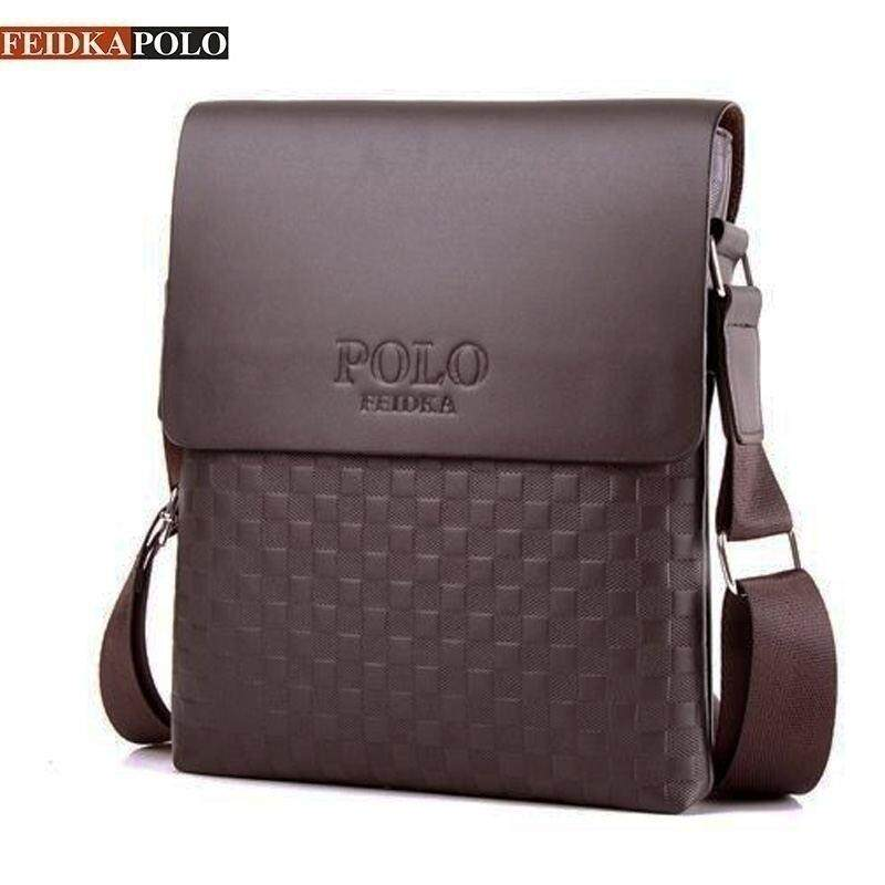 POLO Men Bag Business Messenger Bag Fashion PU Leather Crossbody Vertical Leather  Bag - Black Brown b3c54221e47a9