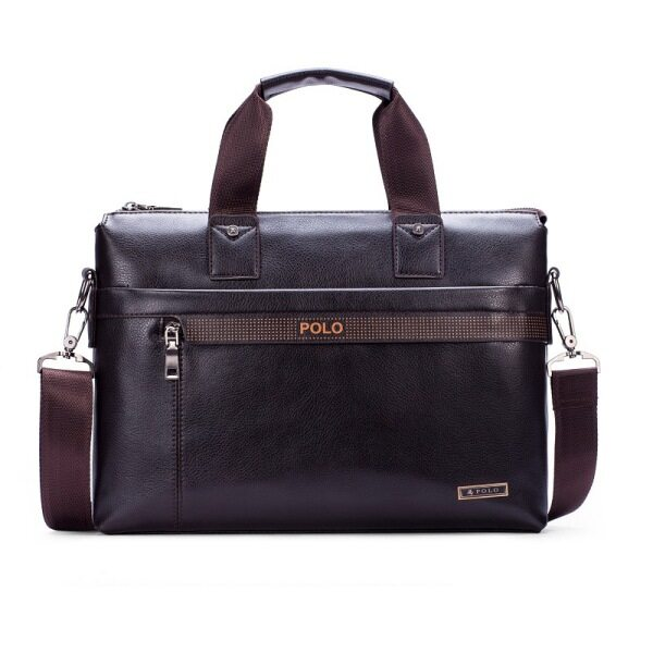 POLO Men Leather Handbag Business Portable Bag Crossbody Tote (Coffee)