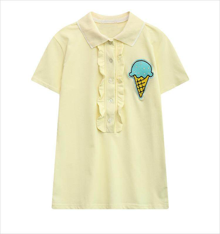 Polo shirt girl short sleeve Polo shirt embroidery ice cream casual shirts cotton tee tops shirts - intl