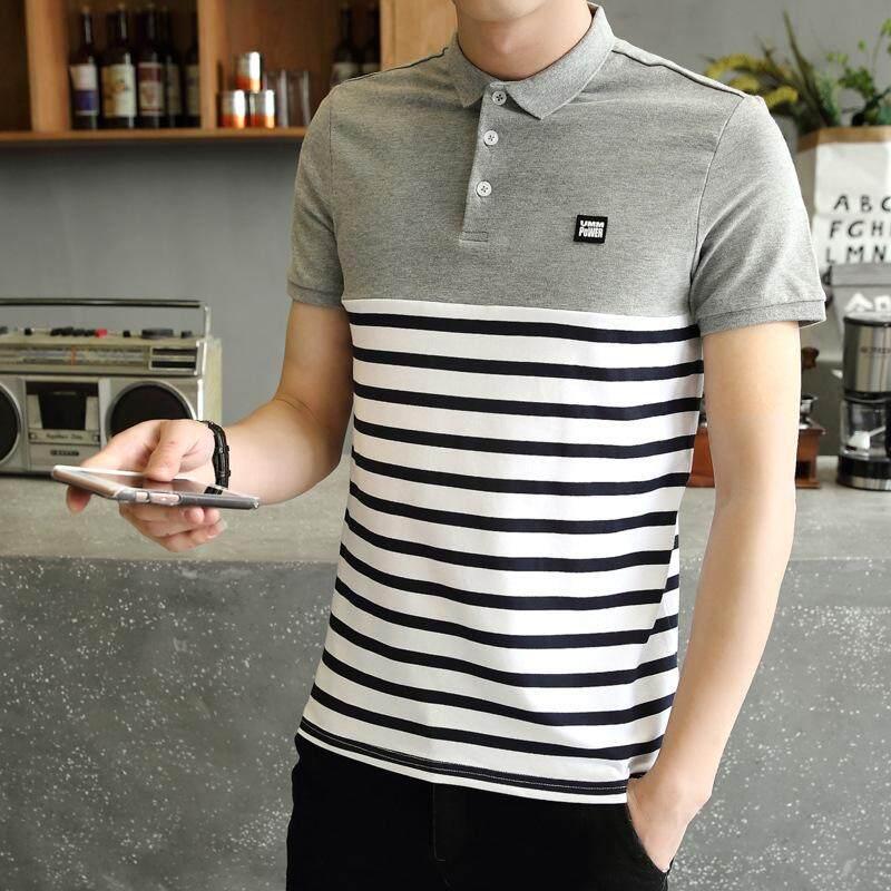 Polo Summer New Men's Striped Turn-down Polo Shirt T-shirt Cotton Men's Short-sleeved Polo Shirt - intl