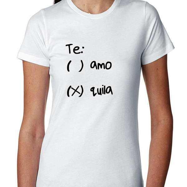 Populer T Shirt Benang Te Amo atau Te Quila Tequila Daftar Periksa Wanita Kaos Katun Putih-Intl