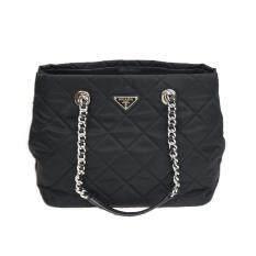 7a7600d50a Prada Women s Black Quilted Tessuto Chain Shoulder Tote Bag 1BG740