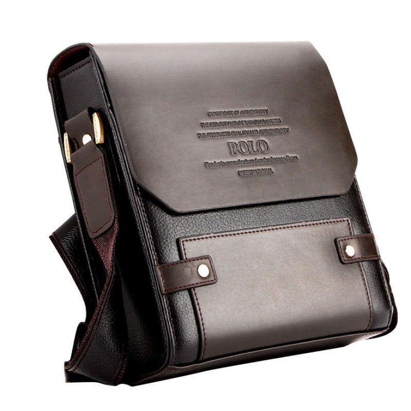 JJY86FCDD Premium Polo PU Leather Men Messenger bag L Sling Bag brown Zefer