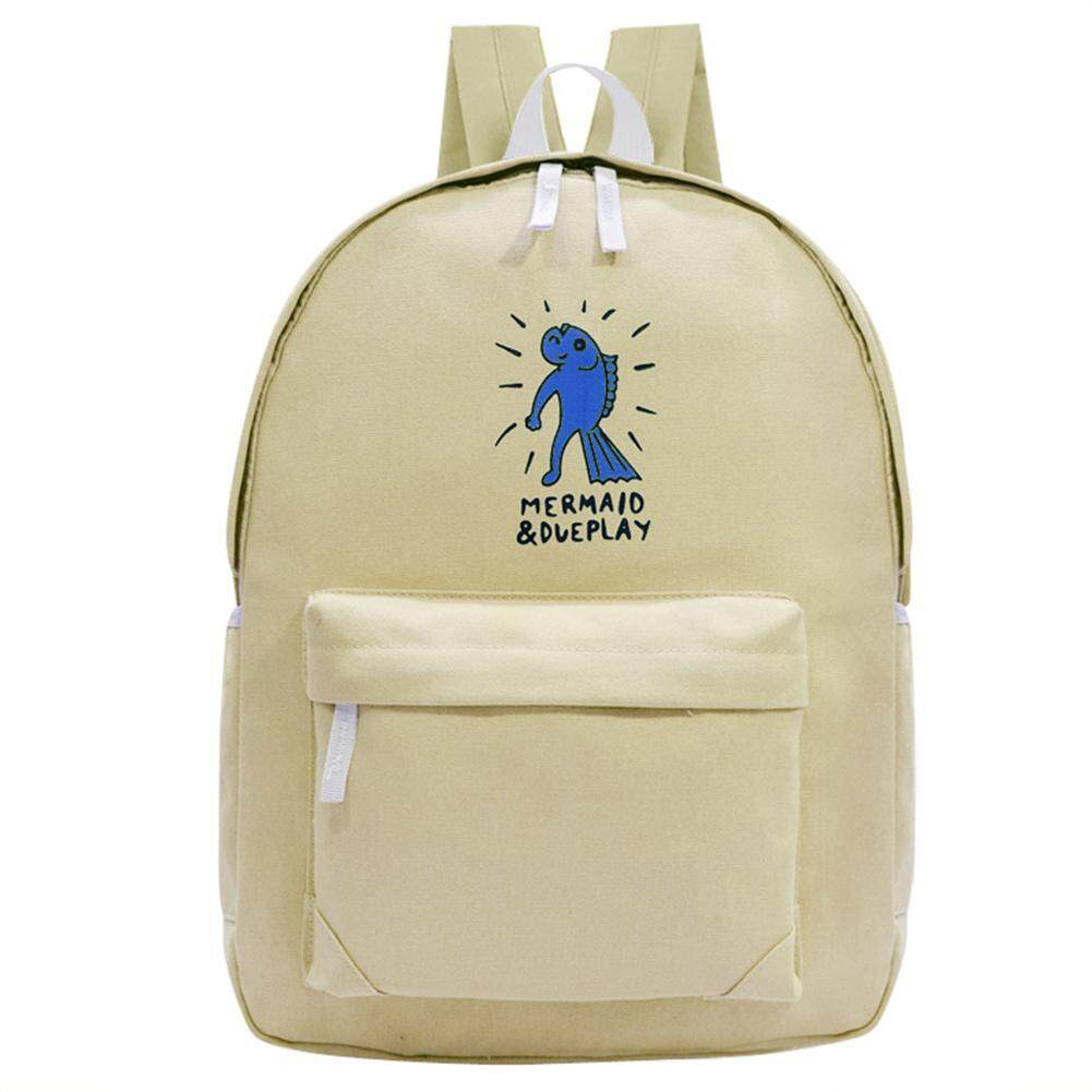 Preppy Chic Gilrs Students Canvas Printing Backpack Casual School Bag(beige) - Intl By Welcomehome.