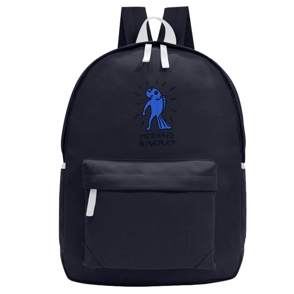 Preppy Chic Gilrs Students Canvas Printing Backpack Casual School Bag(black) - Intl By Welcomehome.
