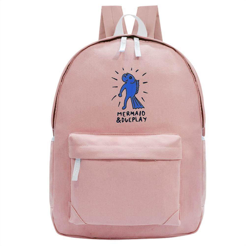 Preppy Chic Gilrs Students Canvas Printing Backpack Casual School Bag(pink) - Intl By Welcomehome.