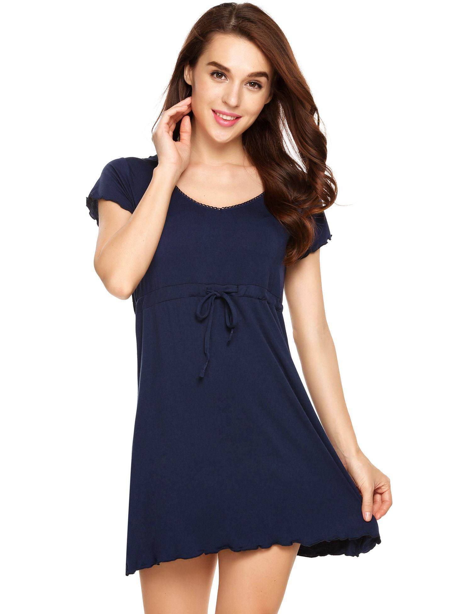 80126148db02 Promotion Womens Short Sleeve Pajamas Solid O Neck Nightgown Sleepwear  Drawstring Loose Dress (Navy Blue