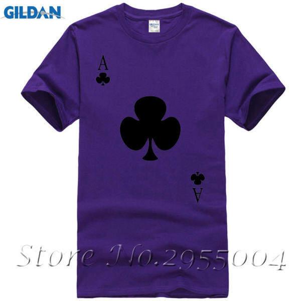 Jin Fashion Lucu Poker Desain Pria T Baju Batik Pria Lengan Pendek Atasan Kasual Ungu-Intl