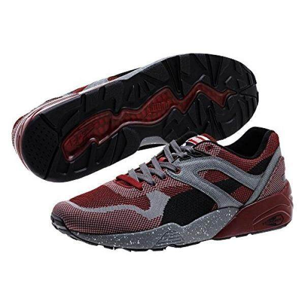 fe4c3940b495 PUMA Puma Mens R698 Knit Mesh Splatter Rio Red Steel Gray Ankle-High Fabric