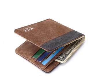 Q-shop canvas wallet High quality Fashion Leisure canvas men wallet(Coffee+Gray)