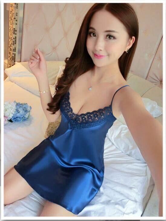 QQ Gaun Sutra Murni Seksi Gaun Malam Tipis Wanita Pakaian Sutera Rumah Piama Cantik Biru-Intl