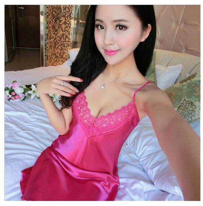 QQ Gaun Sutra Murni Seksi Gaun Malam Tipis Wanita Pakaian Sutera Rumah Piama Cantik Rose-Intl
