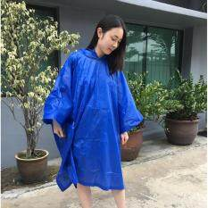 R-1020l Ronson Reusable Poncho (light Vinyl) Unisex Hooded Raincoat - Royal Blue By Cmm.