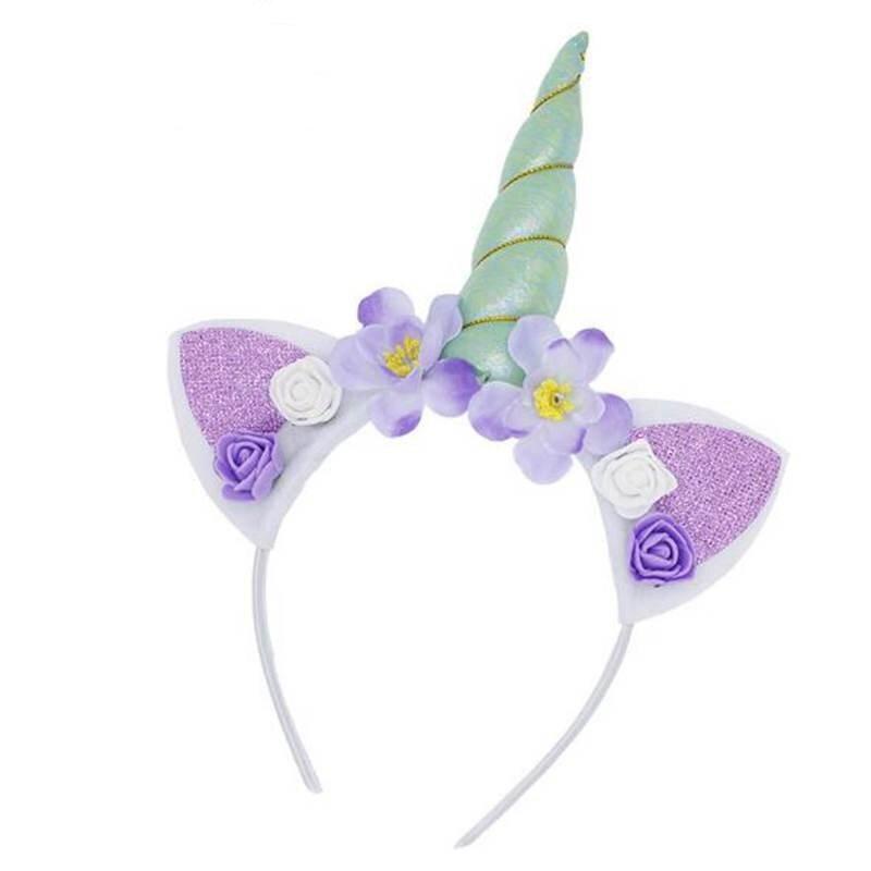 Unicorn Headband Flower Glitter Black Blue Purple Adult Hair Accessory Dress Up