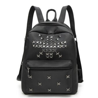 Real Brand Fashion Backpack PU Leather Backpack Rivets Design Leisure Bag  High Quality Women Backpack Plecak 0e8cc44a7b35e