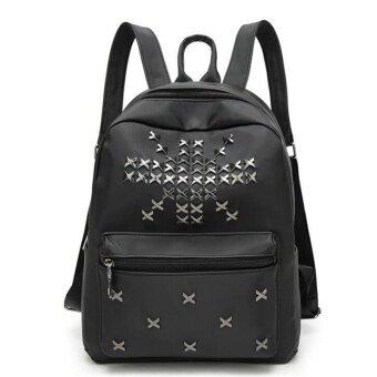 172e9af9ad12 Real Brand Fashion Backpack PU Leather Backpack Rivets Design Leisure Bag  High Quality Women Backpack Plecak